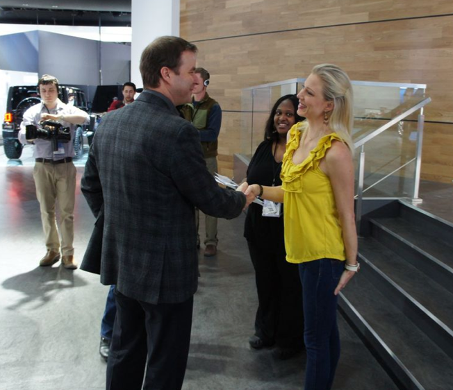 Mary Rambin meets general manager of Jeep