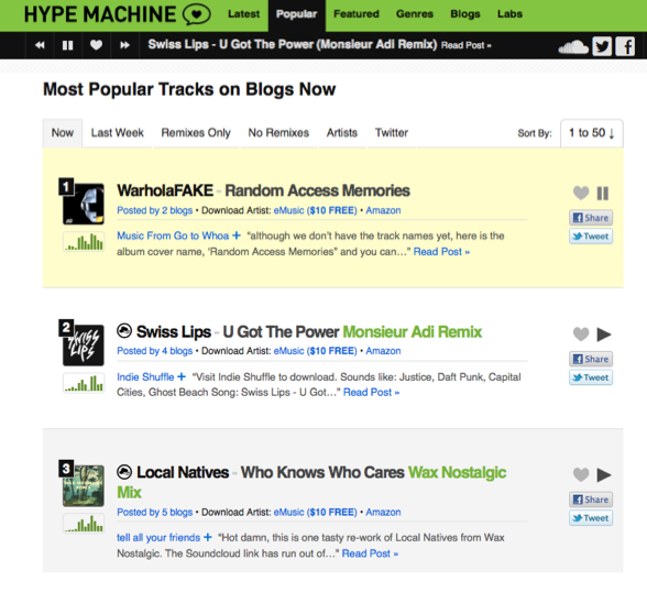 Hypemachine Screenshot