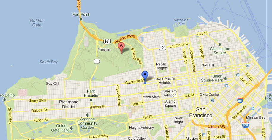 The Inn At The Presidio Map of San Francisco