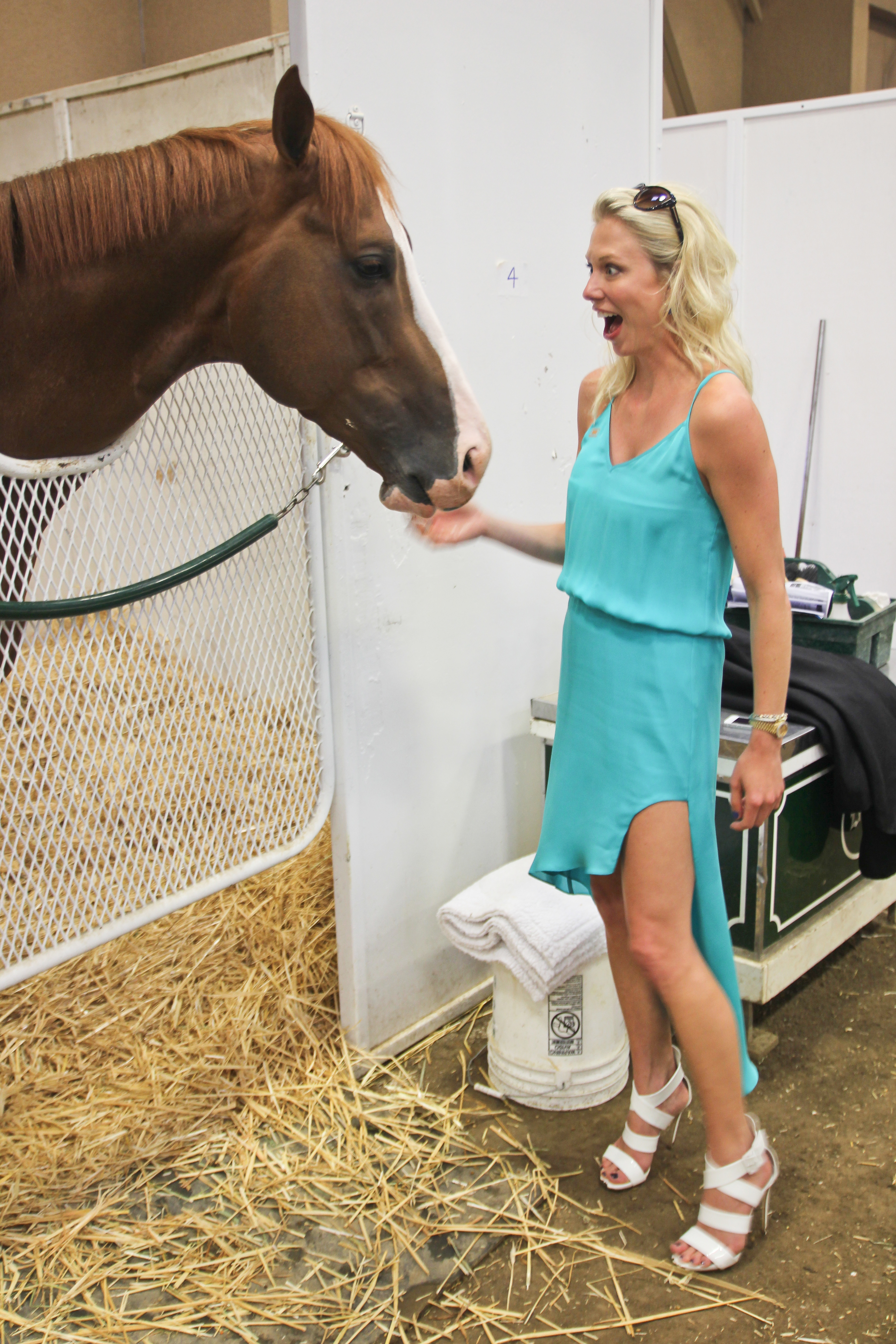 Mary Rambin surprised by horse