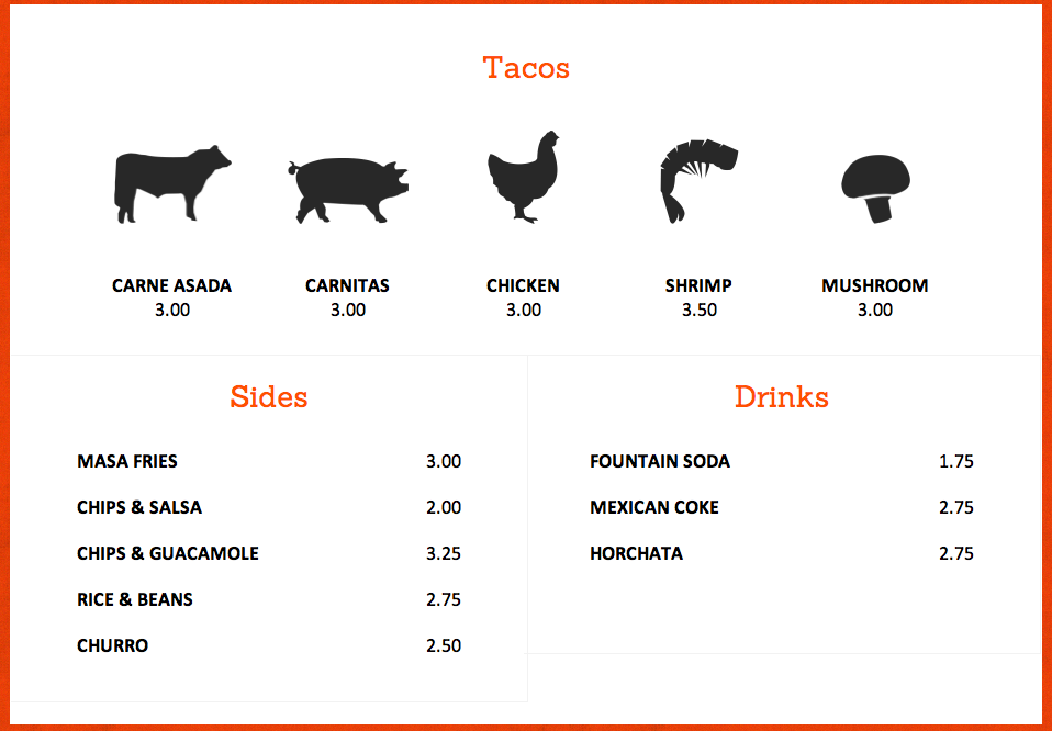Ottos Tacos Menu