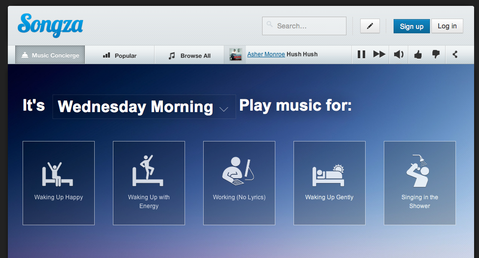 Songza homepage
