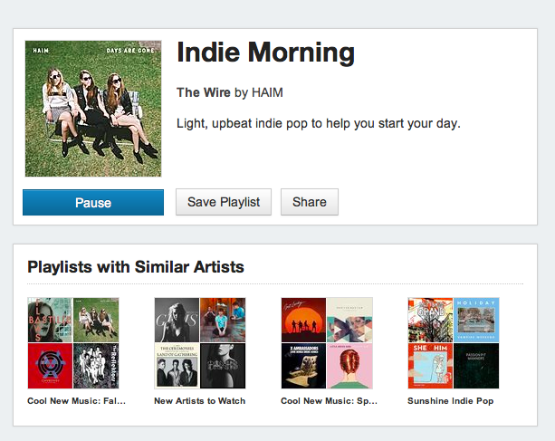 Songza Indie playlist