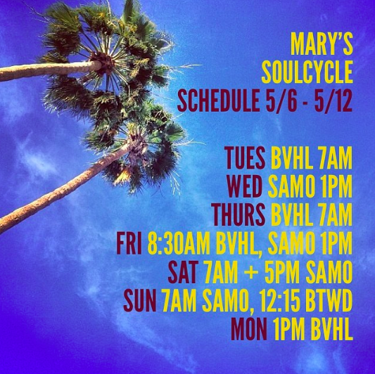 Mary Rambin SOULCYCLE scheudle May 2014