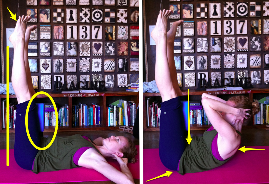 Abs with a yoga block