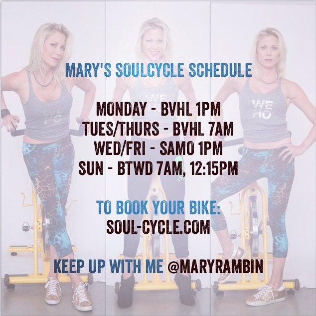 Mary Rambin SOULCYCLE schedule 2014